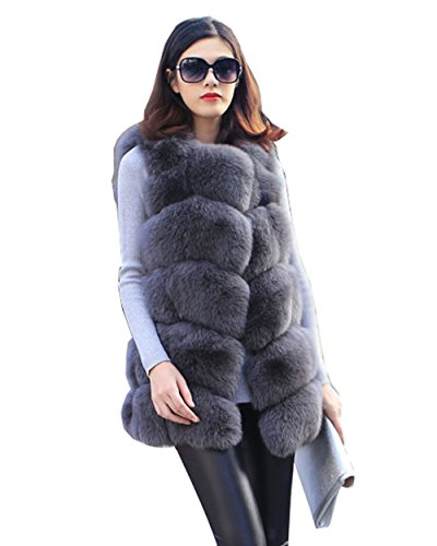 Top Fur Women's Genuine Fox Fur Whole Skins MD-long Vest-Dark Grey,US 4 by Top Fur