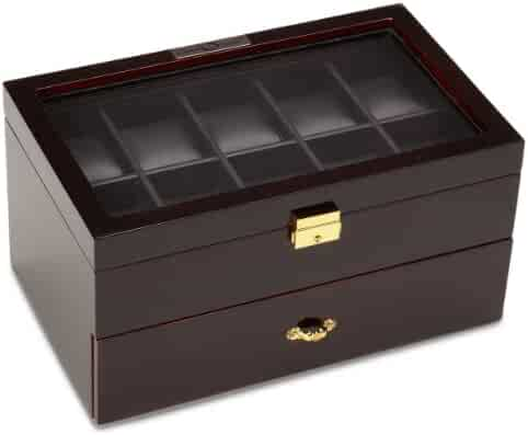 Diplomat 31-57701 Ebony Wood Finish with Clear Top and Black Leather Interior 20 Watch Storage Case
