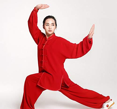 BAIYAN 남녀 중국 전통적인 태극권이 균일 쿵푸 의류 고급스러운 면이 실크 스트레칭 이치에 맞는 전통적인 타이 치에 대한 의류의 태극권 운동 우슈 CLOTHINGRED-XX 큰