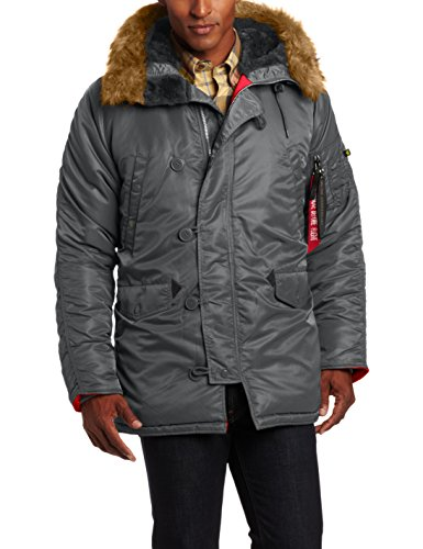Alpha Industries Mens N-3B Slim-Fit Parka with Removable Hood Brown//Red