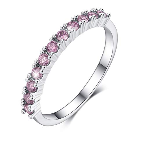Madeone ✦18K White Gold Plating Excellent Cut Cubic Zirconia CZ Stone Single Row 3 Stackable Eternity Wedding Bridal Ring for Women Hypoallergenic with Box Packing Size 5-10 (Pink, 7)