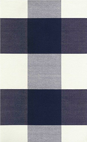 Amazon.com: Navy Blue Off White Buffalo Check Fabric Checkmate Navy ...
