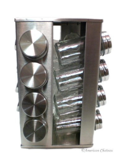 Stainless Steel & Glass Revolving Spice Rack with 16 Jars