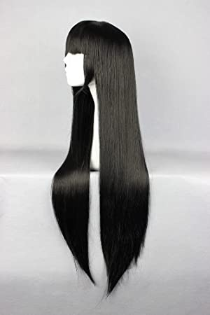 Cosplay Wig Long Straight Flat Bang Synthetic Wig Anime Black Hair