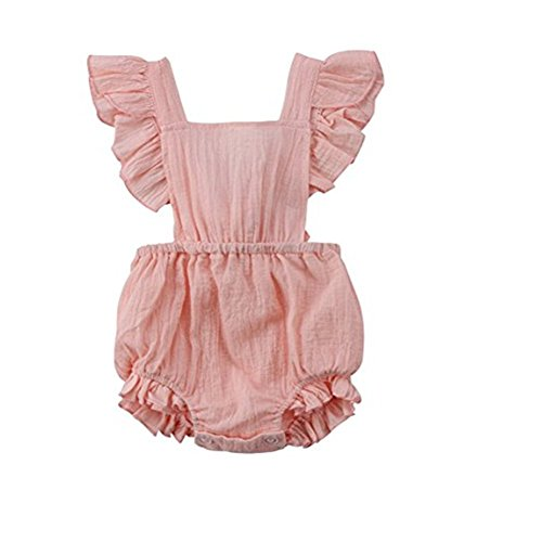 Best deals Younger Tree Infant Baby Girl Twins Bodysuit Sleeveless Ruffles Romper Sunsuit Outfit Princess Clothes (Pink,