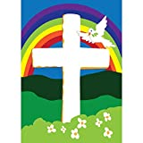 Faith Rainbow Dove and Cross 42 x 29 Rectangular Double Applique Large House Flag