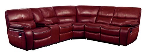 "Homelegance Pecos 105"" x 95"" Manual Reclining Sectional Sofa, Red"