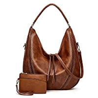 Handbags for Women PU Leather Shoulder Bags Fashion Hobo Bags Large Purse Set 2pcs