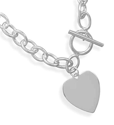 Sterling Silver Bracelet, Toggle, 7 inch long, 1/4 inch wide 1 inch tall Engravable Heart Tag by Silver Messages