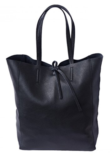 SUPERFLYBAGS Borsa Donna Shopper a Spalla In Vera Pelle modello Elba Made In Italy Nero