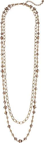 LAUREN Ralph Lauren Women's Smokey Quartz 2-in-1 Strand Necklace Gold/Smokey One (Gold Smokey Quartz Necklace)