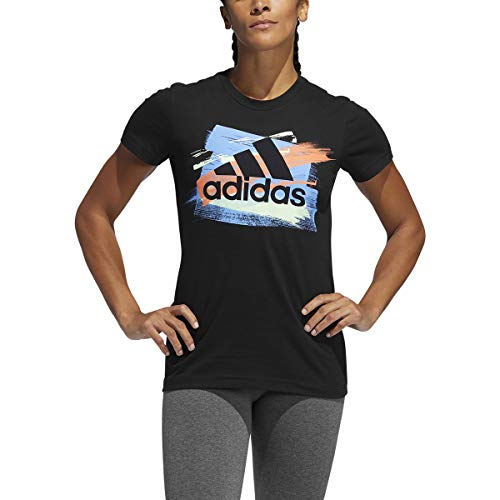 adidas Originals Women's Badge of Sport Moto Block Tee Short Sleeves T-Shirt (Black, X-Large) (Adidas Block Tshirt)