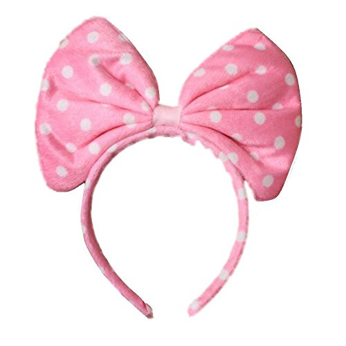 Pritties Accessories Oversized Soft Fabric Pink Spot Bow Alice Hair Band Headband Fancy Dress Party Hen -