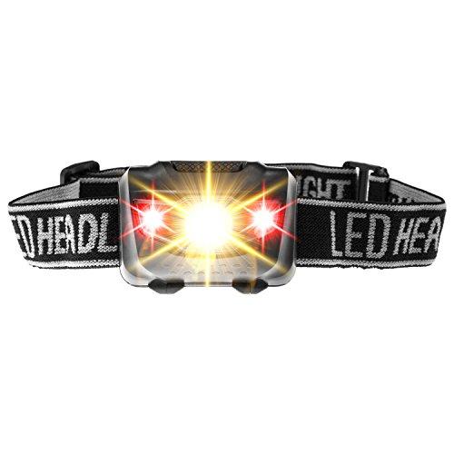 Lampe frontale LED ultra claires–Piles, LED Headlight + LED blanc/rouge Lampe frontale, 4modes de lumière au choix pour courir, jogging, camping, etc.