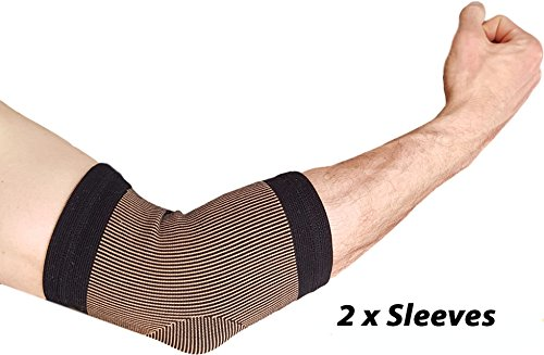 Copper Tennis Elbow Compression Sleeve - Copper Infused Brace for Joint Pain Relief Best Support for Forearm Tendonitis, Arthritis for Golfers or Injury Recovery ARMSTRONG AMERIKA 1 Pair (XL)