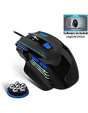 EMPIRE GAMING – Nouveau – Souris gamer filaire Hellhounds – 7200 DPI – 7 boutons programmables avec Logiciel – Rétro-éclairage RGB – Forme ergonomique