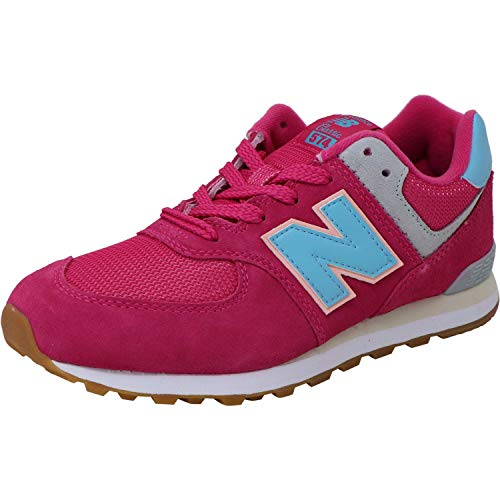 New Balance Boys 574v1 Lace-Up Sneaker, Exuberant Pink, 5 M US Little Kid (4-8 Years)