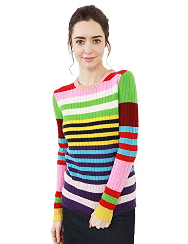 (Cas Lady Women's Cashmere Knitted Crew-Neck Pullover Sweater Coloured Striped)