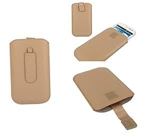 DFV mobile® - Funda Diseño Lineas con Pasador Cinturon y Cierre por Velcro para => Freetel Priori 3 LTE > Beis