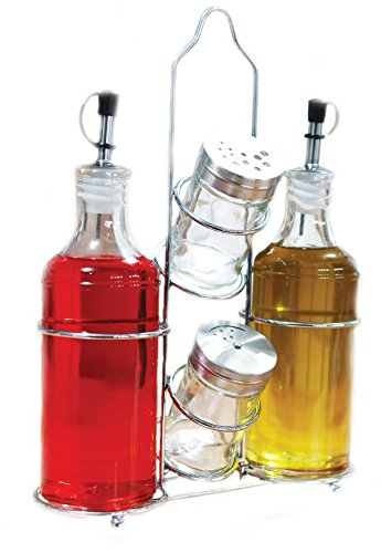 Palais Glassware 5 Piece Olive Oil Dispenser - Vinegar Glass Cruet - Salt and Pepper Shaker Set with a Caddy - 14 Oz. Bottles - 3 Oz. Shakers