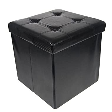 Storage Ottoman Faux Leather Collapsible Foldable Seat Foot Rest Coffee Table Black