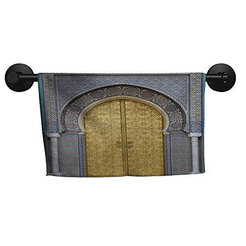 alisoso Moroccan,Towel Antique Doors Morocco Gold Doorknob Ornamental Carved Intricate Artistic Hand Towel for Bathroom W 35