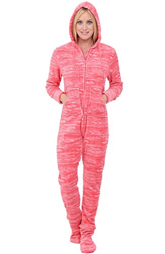 Womens Footed Pajamas - Alexander Del Rossa Womens Fleece Onesie, Hooded Footed Jumpsuit Pajamas, Large Textured Orange Pink (A0322TOPLG)