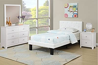 Modern white twin bed frame with a faux leather upholstered headboard and footboard with accent tufting
