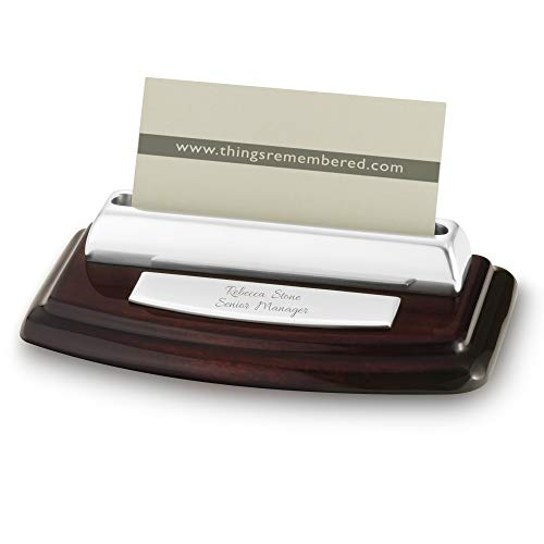 Things Remembered Personalized High Gloss Mahogany Silver Card Holder with Engraving Included