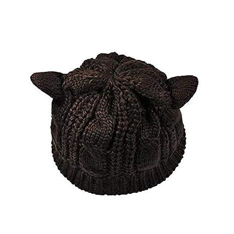 ZXGJMZ Gorros para Damas Crochet Devil Horns Gorra de Invierno ...