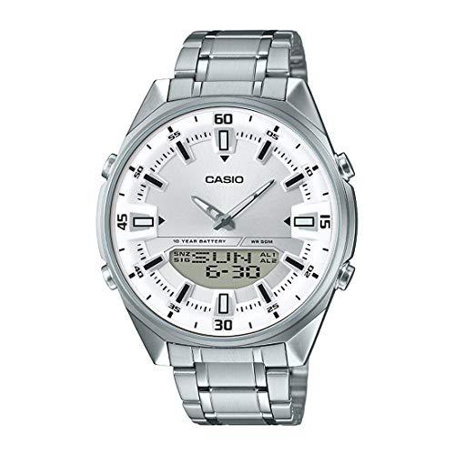 - Casio AMW830D-7AV Men's Stainless Steel White Dial Analog Digital Telememo 30 Watch