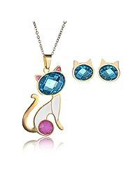 7c07cea258d2 CARSINEL Chapado de 18K Oro para Joyería de Moda Collar de Mujer Juegos  Gato Colgante Acero Inoxidable Collar Pendientes Cristal…