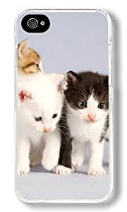 The Cute One Pair Of Black And White Cat Custom iPhone 4S Case Back Cover, Snap-on Shell Case Polycarbonate PC Plastic Hard Case Transparent