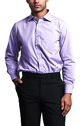 Lavender Gingham Dress - G-Style USA Men's Regular Fit Long Sleeve French Convertible Cuff Dress Shirt - Lavender - L/16.5/34-35