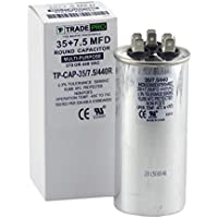 30 + 7.5 mfd Dual Capacitor, Industrial Grade Replacement for Central Air-Conditioners, Heat Pumps, Condenser Fan Motors, and Compressors. Round Multi-Purpose 370/440 Volt - by Trade Pro