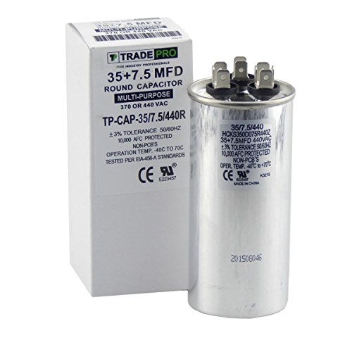pacitor, Industrial Grade Replacement for Central Air-Conditioners, Heat Pumps, Condenser Fan Motors, and Compressors. Round Multi-Purpose 370/440 Volt - by Trade Pro ()