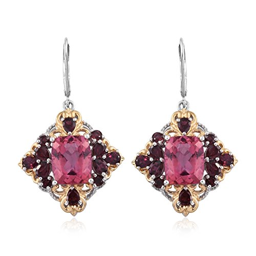 Rose Danburite, Rhodolite Garnet 14K Yellow Gold and Silver Lever Back Dangle Earrings 10.5 cttw (Gold Rhodolite Earrings)