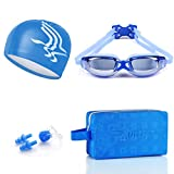 SHOLIND Unisex No Leaking Anti Fog Scratch Resistant Prescription Swimming Goggles With Swim Cap, Protective Case, Nose Clip and Ear Plugs