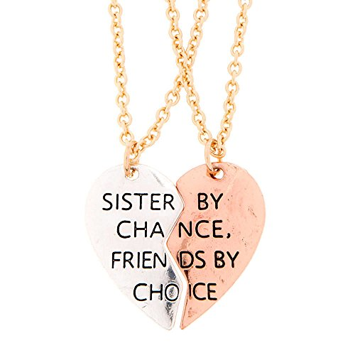 Claire's Girl's Mixed Metal Sister by Chance, Friends by Choice Pendant Necklaces