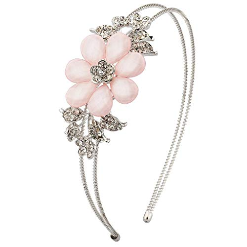Lux Accessories Faceted Pink Flower Floral Pave Crystal Stretch Headband