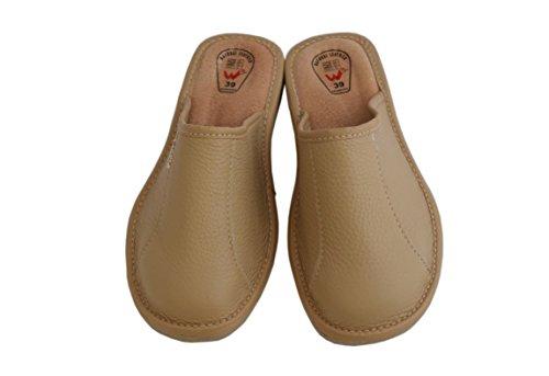 Natleat Slippers womens slippers 59 - Zapatillas de estar por casa de Piel para mujer - Cappucino
