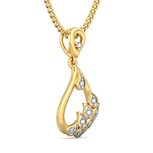 14K Or jaune 0.09CT TW Round-cut-diamond (IJ | SI) Pendentif