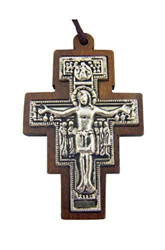 CB Catholic Gift Wood Inlay Metal Saint St Francis of Assisi San Damiano Tau Cross Crucifix Pendant with 30 Inch Cord ()