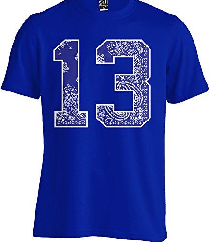 Blue Bandana # 13 Tee Crew T shirt Urban Wear Paisley Print Street Hip Hop LA (Large - L)