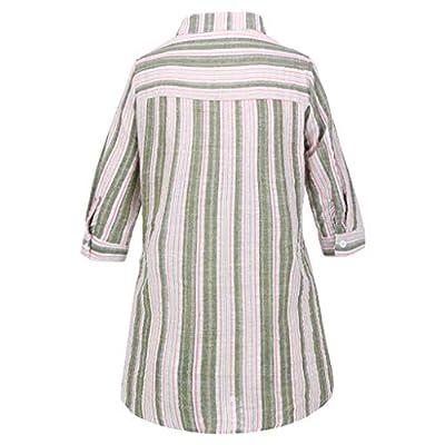 VRTUR Tops úNico Estilo Verano Camisa Alta Y Baja del Bolsillo Rayado Muticolor Casual De Gran TamañO De Las Mujeres De La Moda: Ropa y accesorios