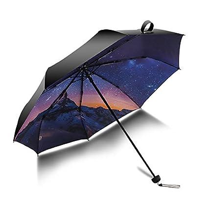 Paraguas plegable automatico Mujer niño Hombre an- Sombrilla Plegable de Doble Uso Protección Solar Anti
