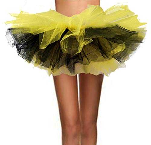 T-Crossworld Women's Classic 5 Layered Puffy Mini Tulle Tutu Bubble Ballet Skirt Bee-(Yellow and Black) Small]()