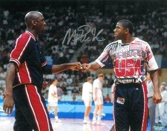 Autographed Magic Johnson Photo - USA Olympic Dream 16x20 vs Michael Jordan - Autographed NBA Photos