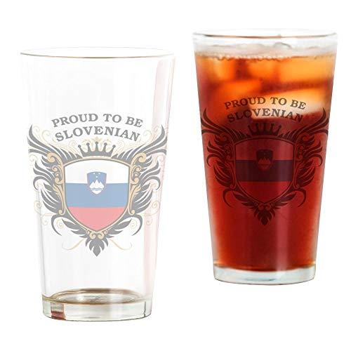 CafePress Proud To Be Slovenian Pint Glass Pint Glass, 16 oz. Drinking Glass