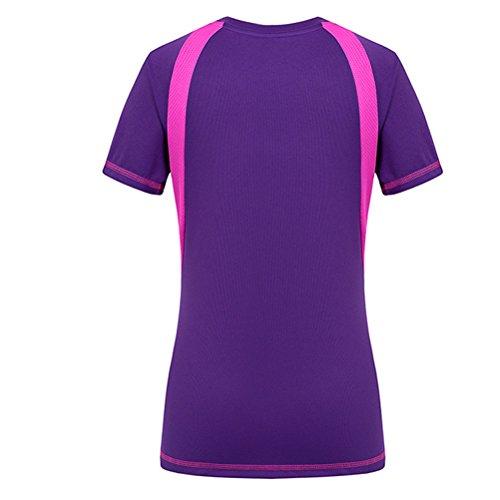 Zhhlaixing Women Sports Quick-Dry Short Sleeve T-Shirt Purple